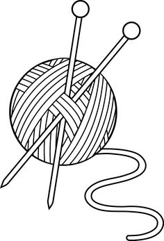 black and white knitting set free clip art