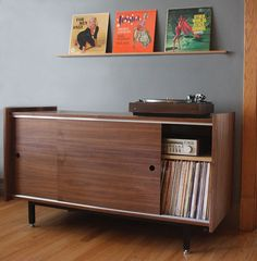 Signature Audio Credenza for Vinyl LP and Component Storage