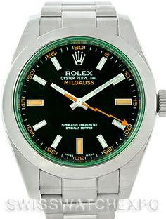 Rolex Milgauss Green Crystal Mens Watch 116400V