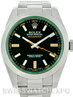 Rolex Milgauss Green Crystal Mens Watch 116400V