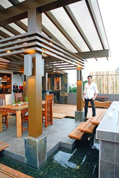Dingdong loves entertaining guests in his sprawling bachelor pad. The sizable gazebo features several seating areas.