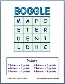 Classroom Freebies: Boggle Templates - Make a New Game Every Time!