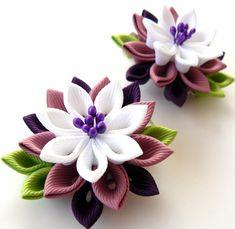 Kanzashi  Fabric Flowers. Set of 2 hair clips. Pink plum by JuLVa, $13.50
