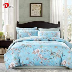 Luxury Satin Bed Linen Egyptian Cotton Bedding Set King Queen Size High Quality Floral Bed Set Bright Blue Duvet Cover Set Z1