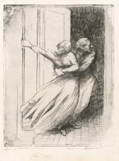Albert Besnard, The Rape, from La Femme, c. 1886, etching touched with graphite (proof impression, state I/II), National Gallery of Art, Gift of Mr. and Mrs. Daniel Bell, in Honor of the 50th Anniversary of the National Gallery of Art.