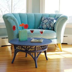 Venus Loveseat from Maine Cottage. I think this was so appropriately named - how could I not love this little gal. Cosy Living, My Living Room, Living Room Furniture, Living Room Decor, Living Spaces, Funky Furniture, Colorful Furniture, Furniture Ideas, Furniture Design