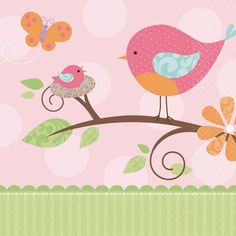 A sweet little momma bird and her baby adorn each Tweet Baby Girl Lunch Napkin. The pastel colors and adorable nature-inspired design coordinates with rest of the Tweet Baby Girl collection, including plates, cups and tablecovers.  One package contains 16 lunch napkins.