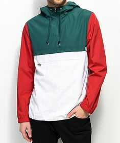 Complete your essentials checklist with the Transparent anorak jacket from Empyre. This lightweight, pullover windbreaker jacket features red sleeves, dark green upper body and speckled white lower half complete with elastic adjustable bottom hem, large f Windbreaker Jacket Mens, Pullover Windbreaker, Hoodie Jacket, Cool Jackets For Men, Anorak Jacket Green, Spring Jackets, Look Cool, Casual Outfits, Red Green