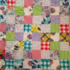 "Vintage 1950's Hand Stitched Scrappy Patchwork Quilt Top 79"" x 70"" Table Cloth Feedsack Flour Sack by RetroHand on Etsy"
