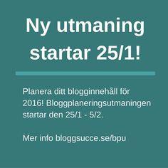 Januari är månaden då vi planerar inför 2016. Den 25/1 startar Företagarens Bloggplaneringsutmaning - utmaningen som hjälper dig som företagare att planera ut det kommande året så att du kan vara säker på att du levererar bra innehåll hela 2016!  Mer info och anmälan: http://ift.tt/1iHUwag