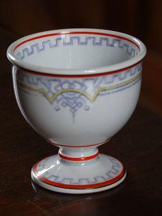 Ancien COQUETIER de collection faïence CREIL & MONTEREAU L.M et Cie 19e siècle in Céramiques, verres, Céramiques, vaisselle déco, Coquetiers, dessous de plats | eBay