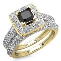 140 Carat Ctw 14K Yellow Gold Princess  Round Cut Black  White Diamond Ladies Halo Bridal Engagement Ring With Matching Band Set Size 75 *** Visit the image link more details.