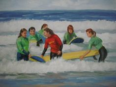 Emma teaching surfing to her students Surfing, Students, Paintings, Teaching, Art, Art Background, Surf, Painting Art, Painting