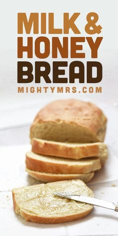 Easy Milk and Honey Bread - The ultimate weekend breakfast loaf! It will make your house smell so good too! Just 5 ingredients, 2 minutes of kneading, plus an hour of rising. This easy homemade bread recipe is so simple to make even first time bread makers will nail it.  The sweet and unique flavor of this quick yeast bread is going to really impress you! The texture is just like store bought too. Get tips for ensuring it's not rock hard! Yeast Bread Recipes, Bread Machine Recipes, Baking Recipes, Sweet Bread Recipe For Bread Maker, Simple Bread Recipe, Bread Machine Bread, Milk Bread Recipe, Recipe Using Honey, Honey Bread
