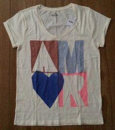 J.Crew M L AMOR Collector T-Shirt 100% Cotton Beige Multi-Color Short Sleeves  #JCrew #GraphicTee