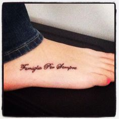 "This is ""Family is forever"" in Italian.   I want the same, but written in apache or spanish to honor my heritage."