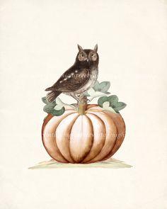 Halloween Autumn Pumpkin and Little Owl Wall by HighStreetVintage, $15.00