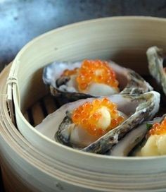 Oysters with miso butter, seaweed and caviar