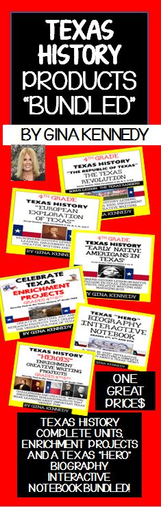 """I have bundled six creative Texas History products from a thorough study of """"The Texas Revolution"""" to enrichment products to add depth to your Texas Heroes studies, your students will love these NO-PREP products.$"""