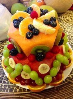 Watermelon cake decorating!  Brings a new meaning to 'fruit cake'!