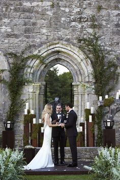 From the Perfect Wedding (according to me) at Ashford Castle, Ireland.  Look at the candles and moss and flowers and perfection!