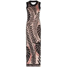 Temperley London Long Makani Knit Dress ($1,249) ❤ liked on Polyvore featuring dresses, bicolor, flower print dress, summer knit dresses, form fitting dresses, open back long dresses and floral print summer dresses