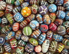 50 Small Clay Beads Mix, 8mm, 12mm, 1.3 Ounces, Colorful Clay Bead Mix, Hand Painted Carved India Beads, Muted Color, IRREGULAR HOLES, QQX01