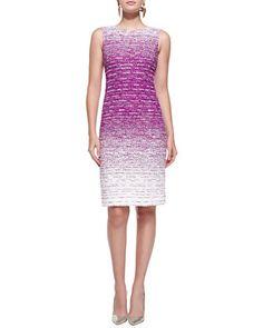 Sleeveless Ombre Tweed Sheath Dress by Oscar de la Renta at Bergdorf Goodman.  Would love to find a similar fabric.