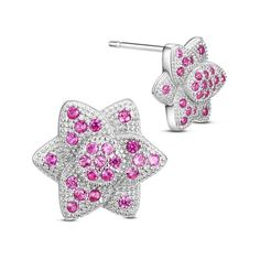 SWEETIEE® Chic 925 Sterling Silver Hexagram Ear Studs, with Micro Pave Rose Red…