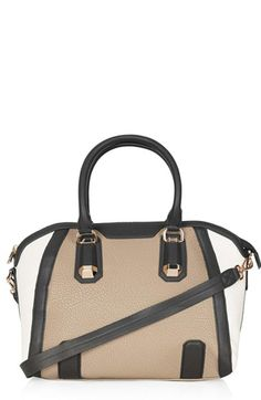 tan black and white colorblock satchel