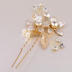 Crystal Pearls Floral Hair Pins Wedding Bride Bridesmaid Hair Accessory Prom