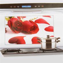 Масло доказательство алюминиевая фольга наклейка кухня капот красный роза цветок стена украшение(China (Mainland))