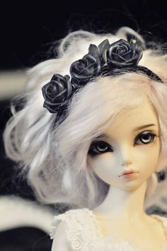 White hair black headband