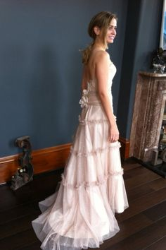 Jaime.  Taupe net over golden tulle. Perfectly ethereal, modern yet delicately nodding to the 30's. Jill Andrews Gowns