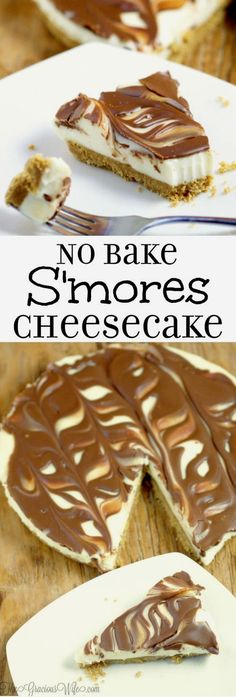 Easy No Bake S'mores Cheesecake is a quick and easy no bake s'mores dessert with chocolate and marshmallow that can be made from scratch in just 10 minutes!