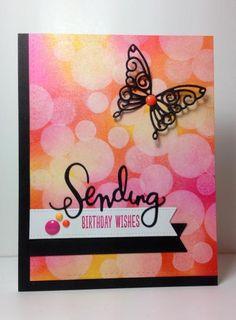 "Leanna butterfly die, ""sending"" die: Simon Says Stamp, #SSSFAVE, bokeh,  by beesmom - Cards and Paper Crafts at Splitcoaststampers"