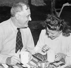 President Franklin D. Roosevelt and Katharine Hepburn, sipping fish chowder at Mrs.. Roosevelt's Val Kill cottage, in Hyde Park, New York, 1940.