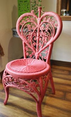 pink heart wicker chair