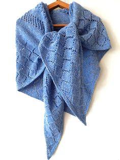 Knitted blue shawl, knitted tweed winter wrap, wool winter shawl, knit accessory, woman scarf, shawl knit by SanniKnitting on Etsy