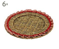 Set di 6 sottopiatti in fibra naturale Toscana rosso - d 32 cm