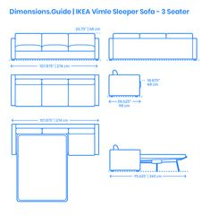 """The IKEA Vimle Sleeper Sofa 3 Seater is an extended two or one-seater with the sofa seater section being combined in different ways to get the desired shape. The IKEA Vimle Sleeper Sofa (3 Seater) has an overall height of 26.75"""" (68 cm), width of 107.875"""" (274 cm), depth of 38.625"""" (98 cm), and seat height of 18.875"""" (48 cm). When open, the 3 Seater IKEA Vimle Sleeper Sofa has an overall size 107.875"""" x 59.875"""" (274 x 152 cm). Downloads online #futons #beds #furniture #home Human Dimension, Sofa Dimension, 3 Seater Sofa, Sleeper Sofa, Ikea Vimle, Ikea Sofa Bed, Painted Furniture, Furniture Design, Cad Blocks"""