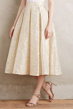 Love the soft gold color and the texture! Saone Midi Skirt #AnthroFave