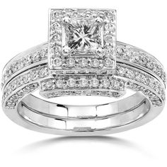 Annello by Kobelli 14k Gold 1 1/4ct TDW Diamond Halo Bridal Ring Set ($1,791) ❤ liked on Polyvore featuring jewelry, rings, white, 14 karat gold ring, round wedding rings, gold engagement rings, wide band rings and gold wedding rings