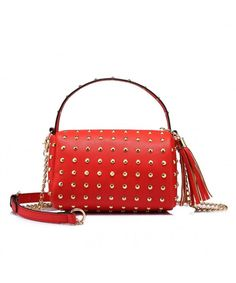 babdcf005f18 Shoulder Bag Small Side Purse Mini Clutch with Bling Rivets - Red -  CY182Y9A4ZN
