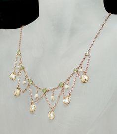 Antique Art Nouveau Peridot Baroque Cultured Pearl Festoon Necklace