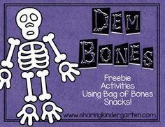 These activities are designed to use the Cheetos Bag of Bones snacks. They come in stores around Halloween. This pack was also a Facebook fan request. byMary AmosonSharing KindergartenSharing Kindergarten Facebook