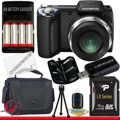 Olympus SP-620UZ Digital Camera (Black) 16GB Package 2 by Olympus. $500.00. Package Contents:  1- Olympus SP-620UZ Digital Camera (Black)  w/ All Supplied Accessories 1- 16GB SDHC Class 10 Memory Card   1- USB Memory Card Reader  1- Weather Resistant Carrying Case w/Strap  1- Pack of LCD Screen Protectors  1- Camera & Lens Cleaning Kit System  1- Mini Flexible Table Top Tripod 1- Memory Card Wallet 1- 4x AA Rechargeable Batteries w/ Rapid External Charger