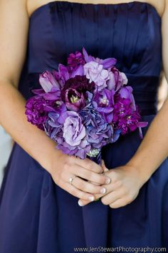 A monochromatic purple wedding bouquet by Botanica Floral & Event Design.