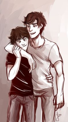 """Nico Di Angelo and Percy Jackson: """"So we cool Nico?"""" """"Yeah Jackson, we're cool."""" AWWW i love this so much Percy Jackson Fandom, Arte Percy Jackson, Dibujos Percy Jackson, Percy Jackson Ships, Percy Jackson Characters, Percy Y Annabeth, Percy And Nico, Solangelo, Percabeth"""