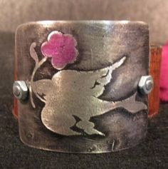 peace bird flower etched metal cuff jewelry #gift #jewelry $28.50
